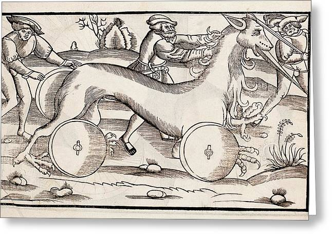 1532 A War Machine In The Form Of A Horse Greeting Card by Paul D Stewart