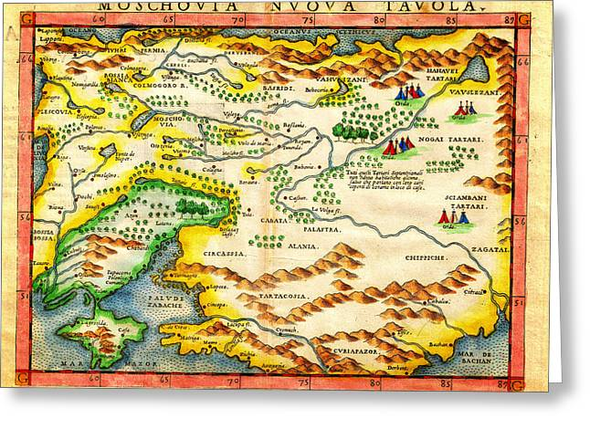 1574 Ruscelli Map Of Russia Muscovy  And Ukraine Geographicus Moschovia Porcacchi 1572 Greeting Card