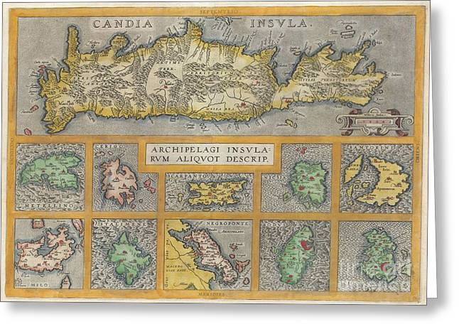 1584 Ortelius Map Of Crete Candia And 10 Greek Islands Greeting Card