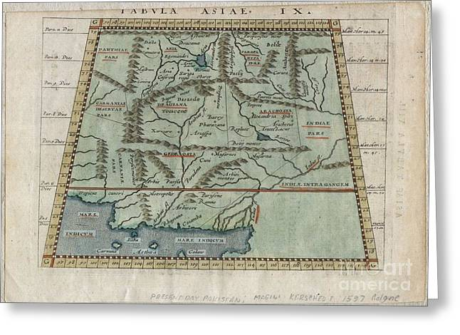 1597 Ptolemy  Magini  Keschedt Map Of Pakistan Iran And Afghanistan Greeting Card by Paul Fearn