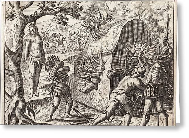 1598 Spanish Cruelties In The New World Greeting Card