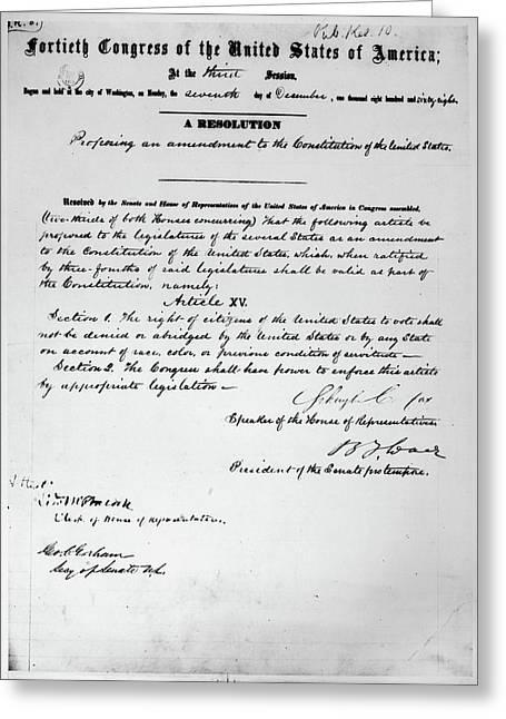 15th Amendment, 1868 Greeting Card by Granger