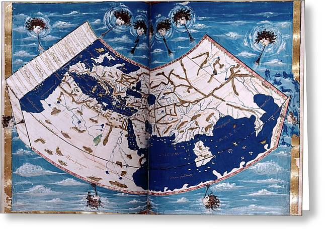 15th Century Map Greeting Card by Renaissance And Medieval Manuscripts Collection/new York Public Library