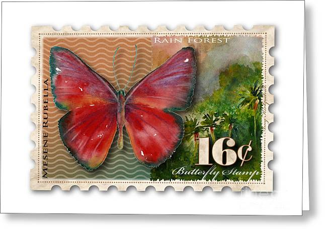 16 Cent Butterfly Stamp Greeting Card by Amy Kirkpatrick