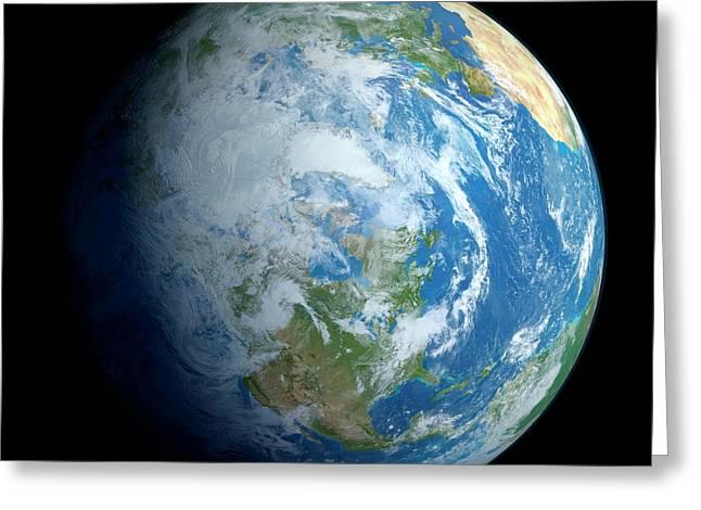 Earth From Space Greeting Card by Detlev Van Ravenswaay