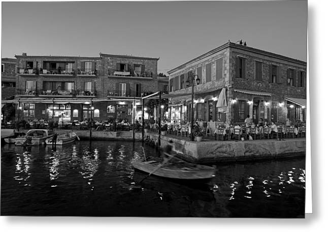 Molyvos Village During Dusk Time Greeting Card by George Atsametakis