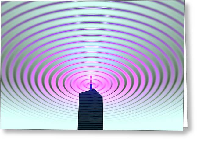 Radio Communications Tower Greeting Card by Russell Kightley