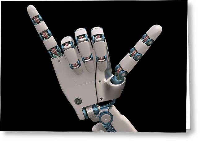 Robotic Hand Greeting Card by Ktsdesign
