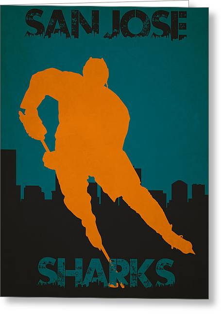 San Jose Sharks Greeting Card by Joe Hamilton