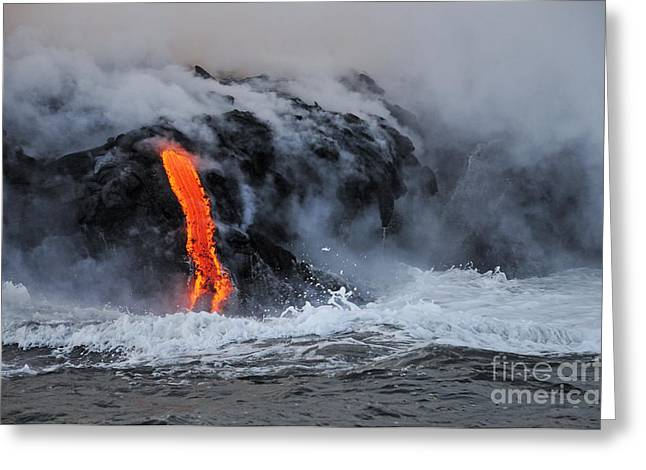 Steam Rising Off Lava Flowing Into Ocean Greeting Card