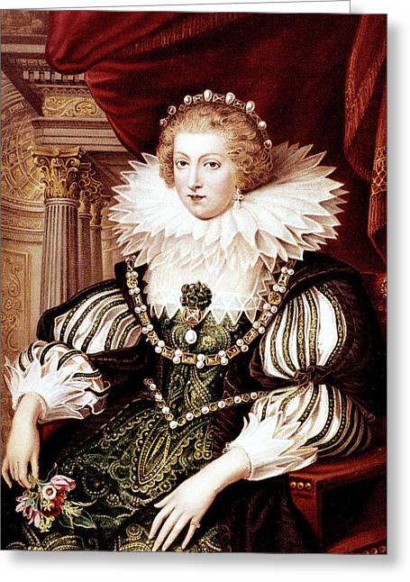 1600s Anne Of Austria Portrait By Peter Greeting Card