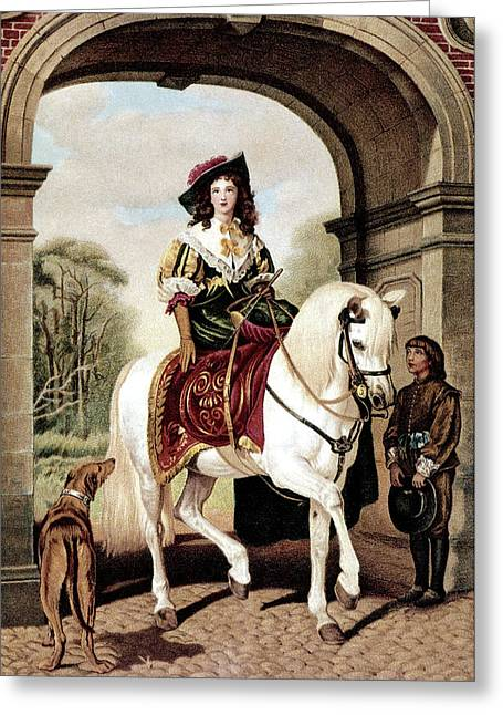 1600s Woman Riding Sidesaddle Painting Greeting Card