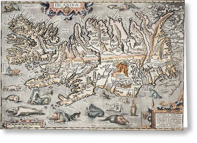 1603 Ortelius Iceland Monster Map Greeting Card