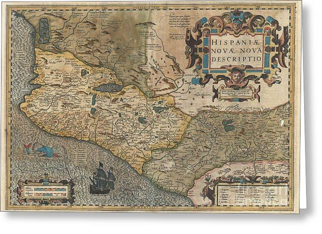1606 Hondius And Mercator Map Of Mexico Greeting Card
