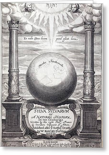 1627 Frontis Of Bacon's Sylva Sylvarum Greeting Card by Paul D Stewart