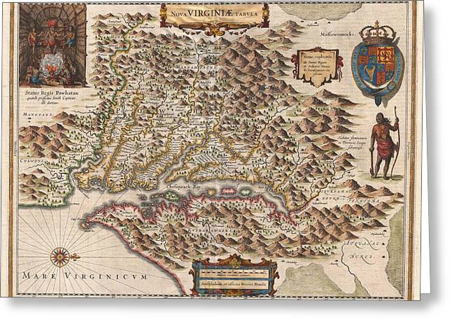1630 Virginia Map Greeting Card by Dan Sproul