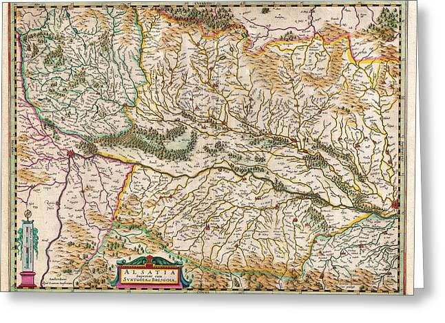 1644 Jansson Map Of Alsace Basel And Strasbourg Geographicus Alsatiasuperior Jansson 1644 Greeting Card
