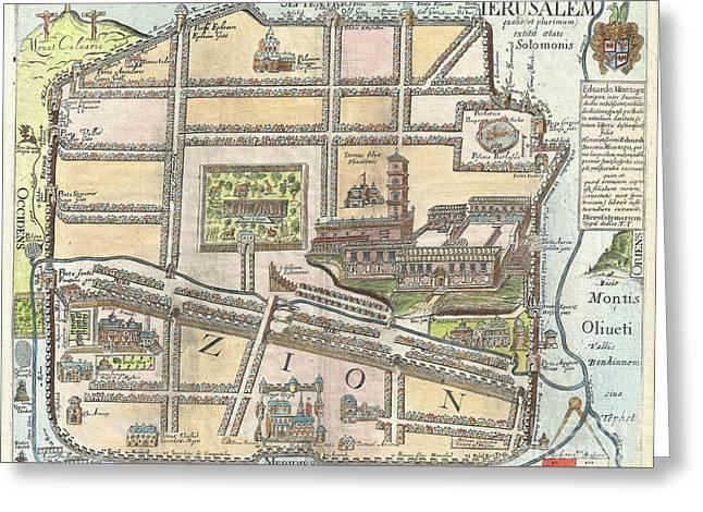 1650 Fuller Map Of Jerusalem  Greeting Card by Paul Fearn