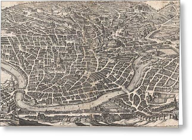 1652 Merian Panoramic View Or Map Of Rome Italy Greeting Card by Paul Fearn