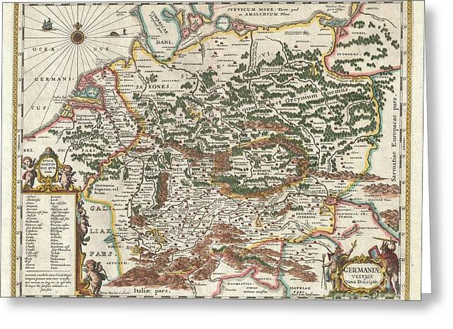 1657 Jansson Map Of Germany Greeting Card