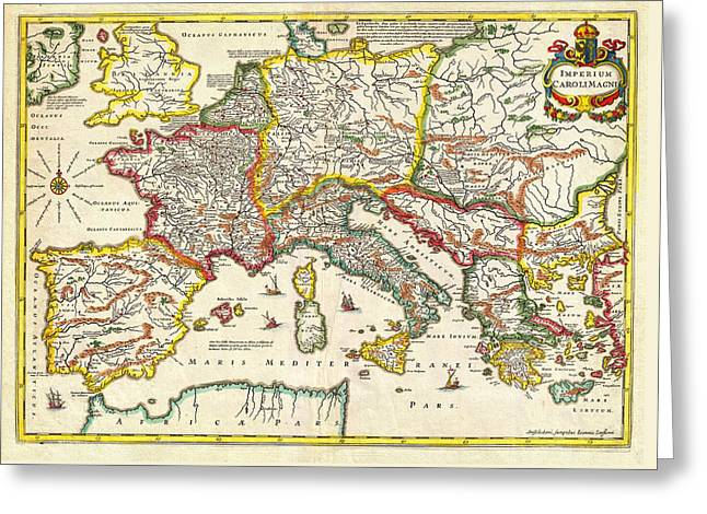 1657 Jansson Map Of The Empire Ofcharlemagne Geographicus Carolimagni Jansson 1657 Greeting Card