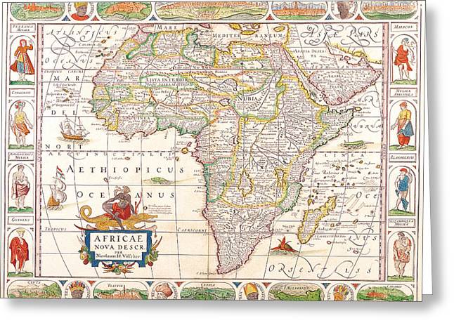 1658 Antique Africa Map Greeting Card by Dan Sproul