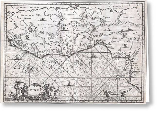 1670 Ogilby Map Of West Africa  Gold Coast Slave Coast Ivory Coast Greeting Card by Paul Fearn