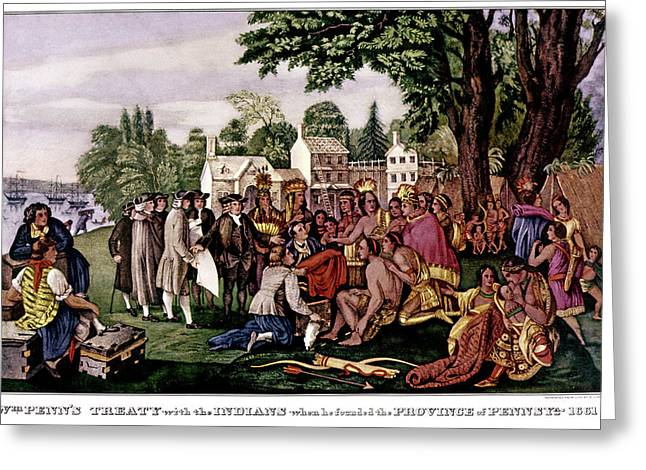 1680s William Penn Treaty With Indians Greeting Card