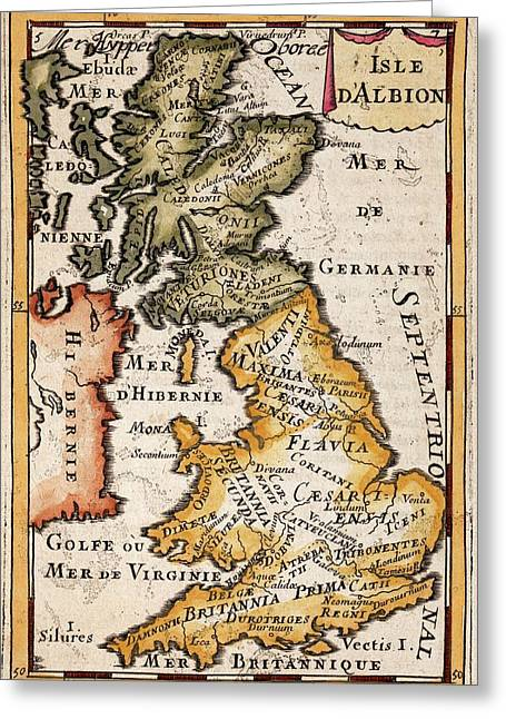 Romano british greeting cards fine art america 1683 mallet map roman britain tribes greeting card m4hsunfo