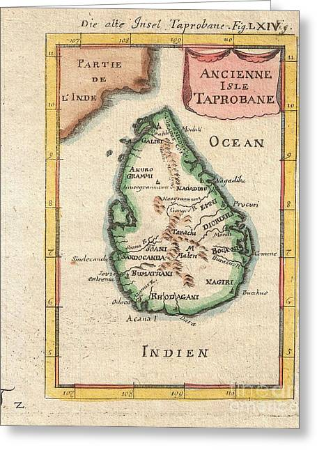 1686 Mallet Map Of Ceylon Or Sri Lanka Greeting Card