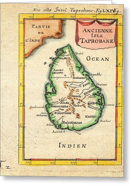 1686 Mallet Map Of Ceylon Or Sri Lanka Taprobane Geographicus Taprobane Mallet 1686 Greeting Card by MotionAge Designs
