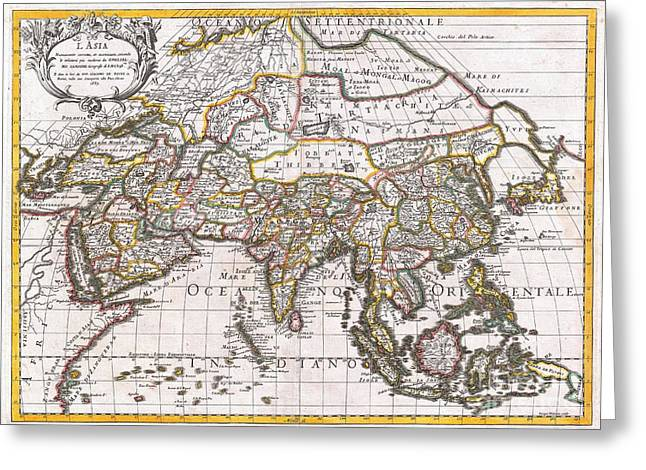 1687 Sanson  Rossi Map Of Asia Greeting Card by Paul Fearn