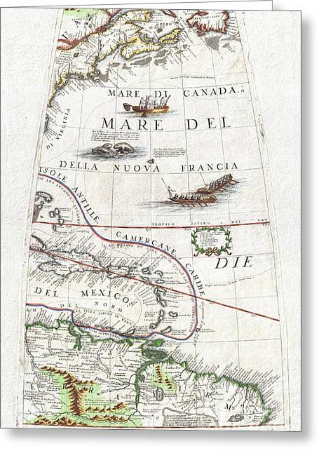 1688 Coronelli Globe Gore Map Of Ne North America The West Indies And Ne South America Greeting Card