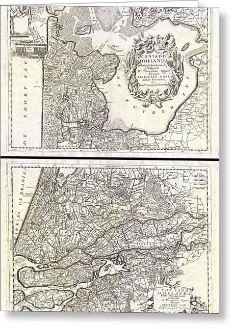 1690 Coronelli Map Of Holland Or The Netherlands  Greeting Card by Paul Fearn