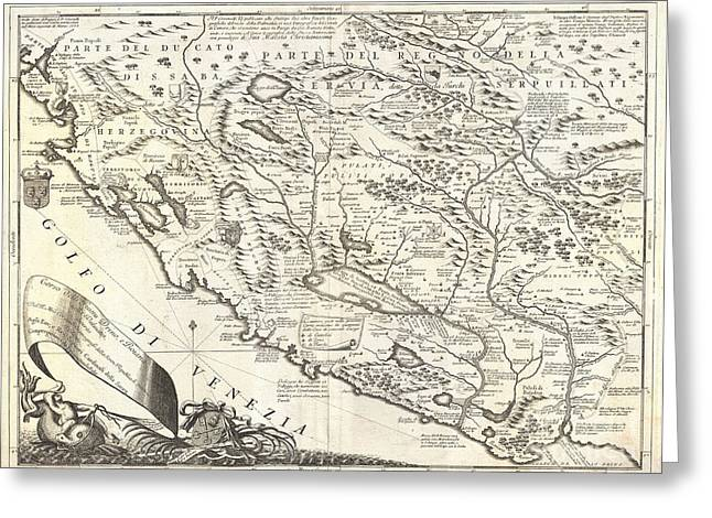 1690 Coronelli Map Of Montenegro Greeting Card by Paul Fearn
