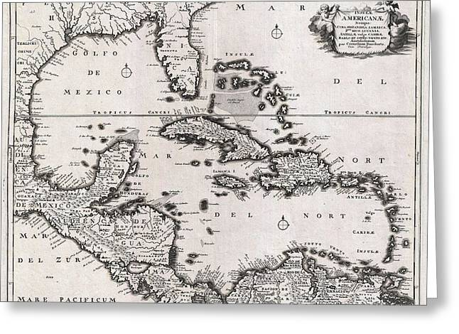 1696 Danckerts Map Of Florida The West Indies And The Caribbean Geographicus Westindies Dankerts 169 Greeting Card by MotionAge Designs