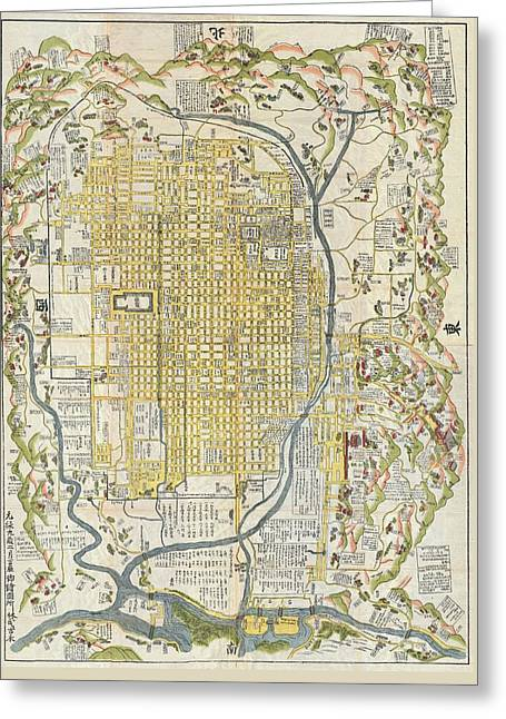 1696 Genroku 9 Early Edo  Japanese Map Of Kyoto Japan Geographicus Kyoto Genroku9 1696 Greeting Card by MotionAge Designs