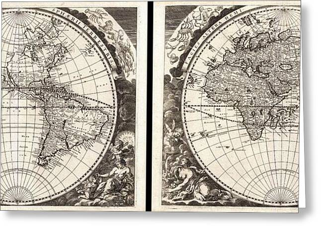 1696 Zahn Map Of The World In Two Hemispheres Geographicus World Zahn 1696 Greeting Card by MotionAge Designs