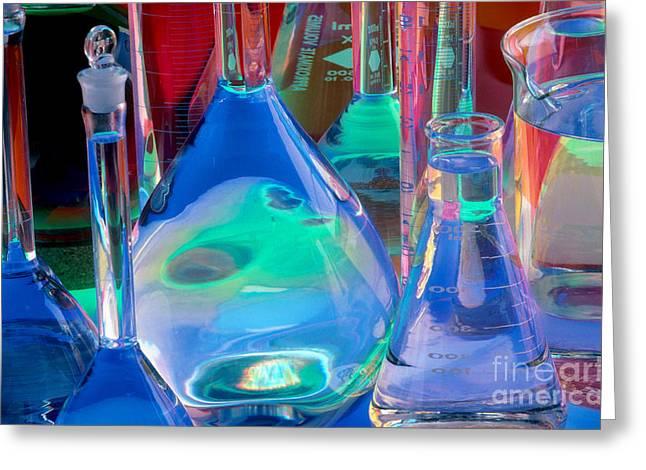 Laboratory Glassware Greeting Card by Charlotte Raymond