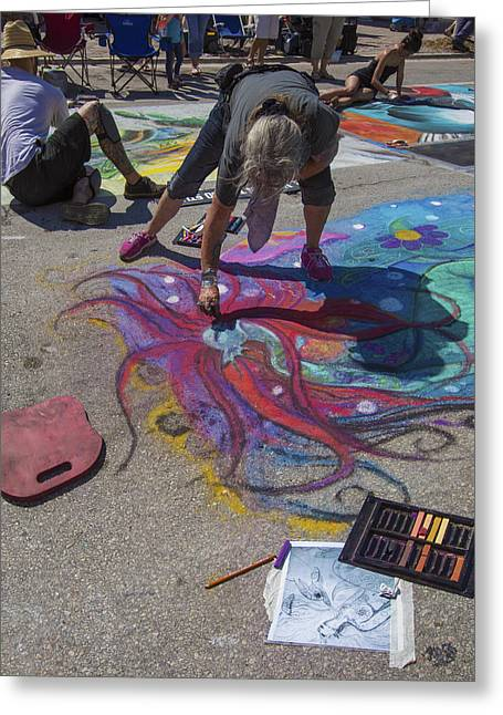 Lake Worth Street Painting Festival Greeting Card by Debra and Dave Vanderlaan