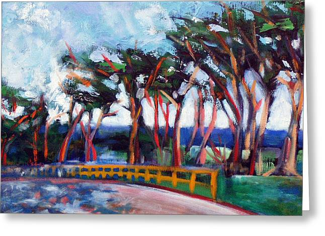 Greeting Card featuring the painting Seventeen Mile Drive by Walter Fahmy
