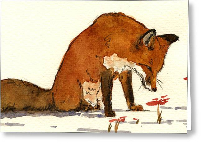 Red Fox Greeting Card by Juan  Bosco