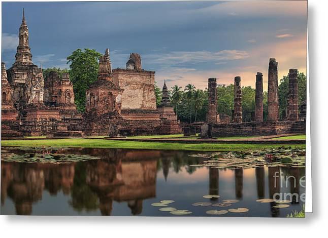 Sukhothai Historical Park Greeting Card by Anek Suwannaphoom
