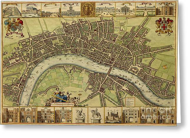 17 Th Century Map Of London England Greeting Card