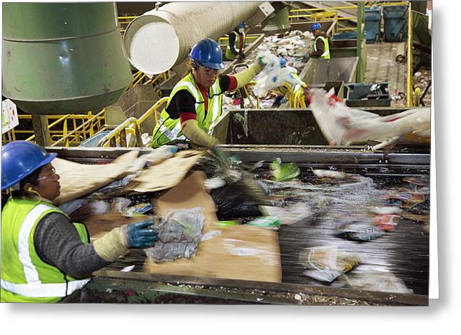 Waste Sorting At A Recycling Centre Greeting Card by Peter Menzel