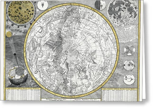 1700 Celestial Planisphere Greeting Card by Daniel Hagerman