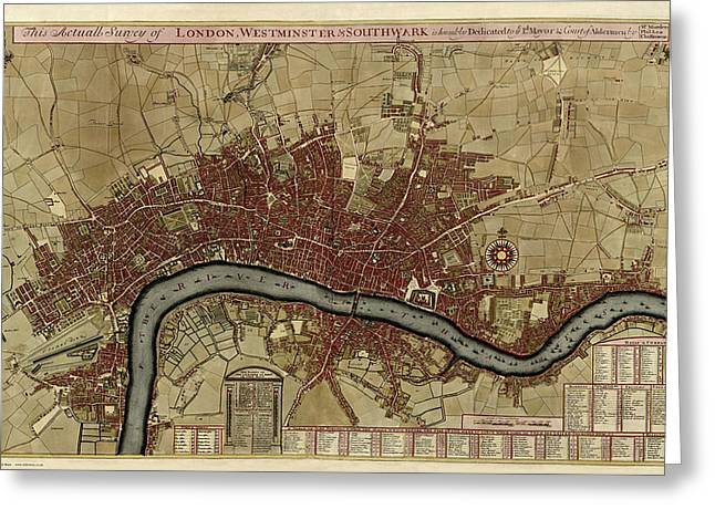 1700 London England Map Greeting Card by Dan Sproul