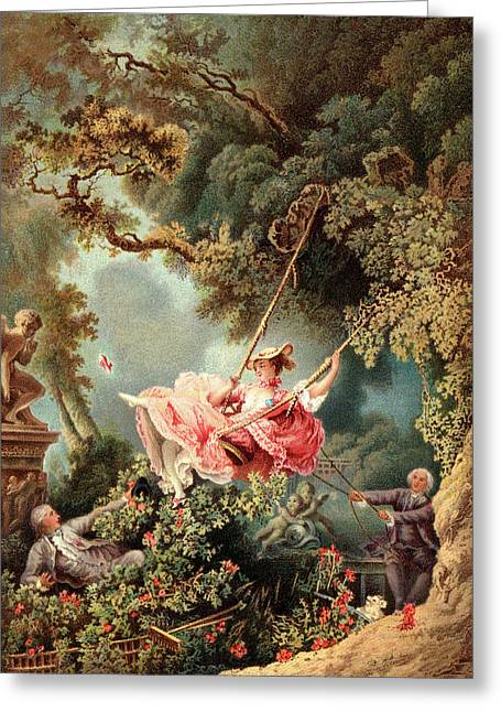 1700s 1767 The Swing By French Painter Greeting Card