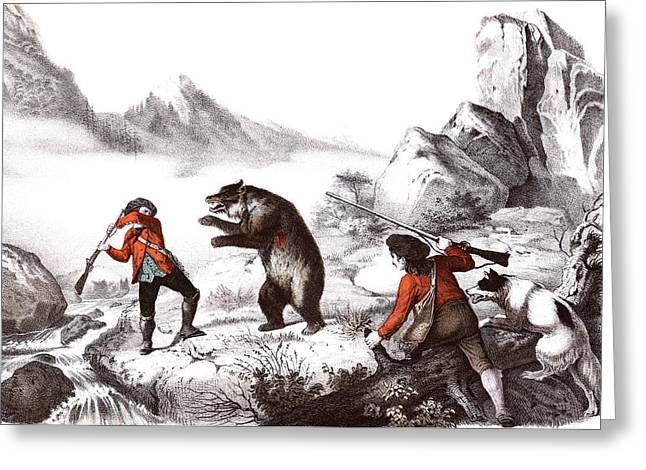 1700s 1800s Wounded Bear Attacking Man Greeting Card