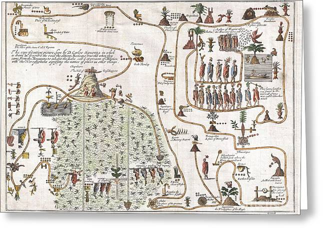 1704 Gemelli Map Of The Aztec Migration From Aztlan To Chapultapec Greeting Card by Paul Fearn